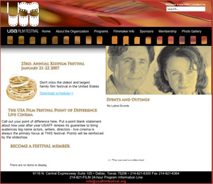 USA film festival was designed and developed by Perfect Circle Media Group, a Dallas based website design and development company